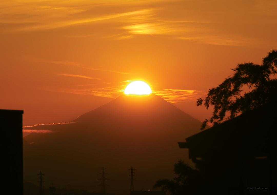 小金井から望むダイヤモンド富士
